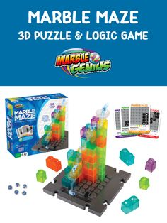 Marble Maze is a logic game + puzzle + marble run toy all in one! This game is great for ages 8 to adult and is perfect for family game night or Makerspaces and STEM/STEAM learning in the classroom! Marble Toys, Steam Toys, Marble Maze, Steam Learning, Math Stem, Maze Game, Logic Games, Inspired Learning, Stem Steam