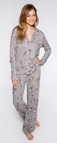 ce269e0e7e PJ Salvage Flamingo s Playful Print Cotton Pajama Set in Grey