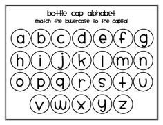 Bottle Cap Alphabet Capital and Lowercase Match Alphabet Letters, Alphabet Charts, Abc Chart, Letter Matching, Teaching Aids, Letter Recognition, Alphabet Activities, Bottle Caps, Lower Case Letters