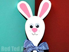 """Ah yes, we love nice and simple and we love cute.. here is a cute little Easter Bunny Craft. All you need is a wooden spoon, some decorative bits, like googly eyes and ribbons.. and off you go. So easy to make and wonderful for an Easter Bunny Puppet show. Also makes for a great """"alternative"""" Easter Gift."""