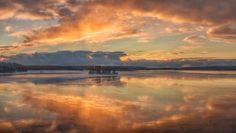Sunset on the Segezha River in Karelia, Russia