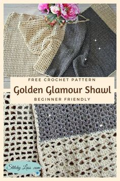 A quick and easy free crochet pattern for a sleek summer shawl. It's suitable for beginners  and more experienced crocheters. Pattern includes links to clear video tutorials for the basic stitches required.