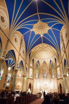 blue church ceiling   visit stylemepretty com