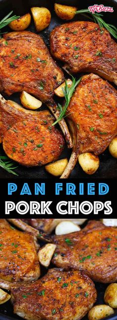 Pan Fried Pork Chops {Never Make a Dry Pork Chop Again!} – TipBuzz Pan Fried Pork Chops are a scrumptious, pork chop recipe that'll be on your dinner table in 15 minutes. They feature a mouthwatering golden crust with no marinating or breading required. Easy Pork Chop Recipes, Pork Recipes, Cooking Recipes, Healthy Recipes, Cooking Pork, Pork Chop Meals, Cooking Tips, Kitchen Recipes, Pork Chops