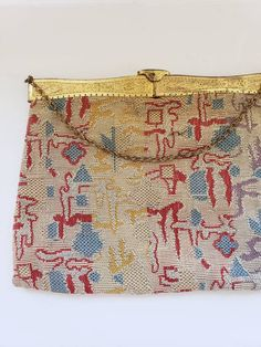 1920s Tapestry Handbag Multicolored Textile Egyptian Revival Hammered Gold /Hinged Purse Woven Carpet Embroidered Bag Art Deco Flapper Agnes by RareJuleVintage on Etsy