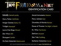 My fandom Card.