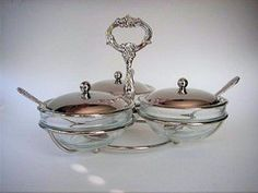 Jam and Condiment Server - Silver Teaware - Roses And Teacups