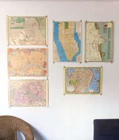 love the idea of decorating with maps