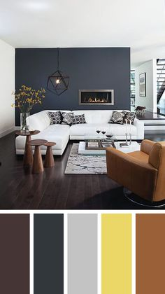 Great living room wall colors Living room color schemes ideas will help you to add harmonious shades to your home which give variety and feelings of calm, You Need to Try This Year! Modern Living Room Colors, Living Room Color Schemes, Paint Colors For Living Room, Small Living Rooms, Living Room Designs, Living Area, Modern Color Schemes, Color Combinations For Walls, Bedroom Colors