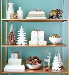 Add a festive vibe to your book shelves by including presents in the mix.