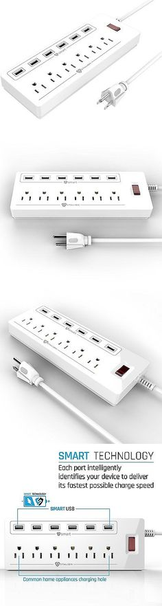 Surge Protectors Power Strips: Stalion Surge Protector Power Strip Socket 900 Joule With 6-Usb Charging Ports And BUY IT NOW ONLY: $68.33