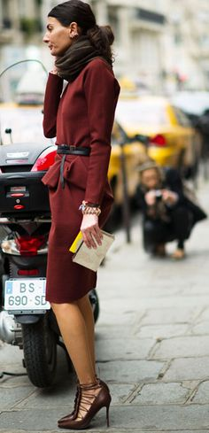 giovanna battaglia - the suit, the scarf,the belt, the SHOE - this woman makes chic look effortless. Love the color palette.