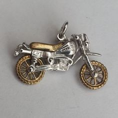 Fabulous Motorcycle Charm with Gold Moving by LittleVintageCharmCo