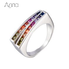 A&N New Fashion Sterling-Silver-Jewelry Colorful Zircon Rings For Women Brand High Quality Rainbow Rings Best Silver 925 Jewelry