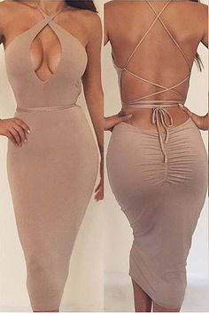 Sexy Backless Solid Color Bodycon Dress
