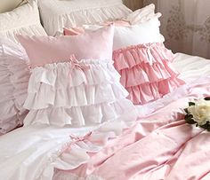 FADFAY Cute Korean Girls Bedding Set White Ruffle Duvet Cover Set 6Piece King Size * Click image to review more details.