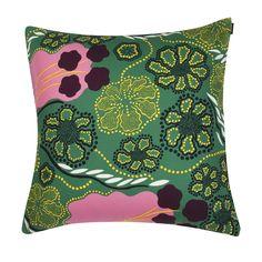 Discover the Marimekko Helmikka Cushion Cover - - Green/Pink/Violet at Amara