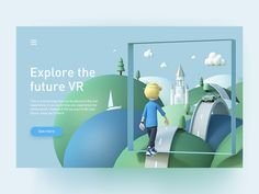 Future VR designed by Cong for Flame Studio. Connect with them on Dribbble; Creative Inspiration, Design Inspiration, Pose, Delivery App, Homepage Design, Show And Tell, Cinema 4d, Personal Branding, Graphic Design Illustration
