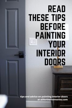 Great tips to read before painting your interior doors. Love these dark grey doors! Great tips to read before painting your interior doors. Love these dark grey doors! Interior Door Colors, Painted Interior Doors, Black Interior Doors, Door Paint Colors, Gray Interior, Interior Painting Ideas, Paint Door Knobs, Interior Door Trim, Interior Door Styles