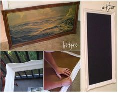 """super-easy chalk board tutorial! << Seriously easy. Except I used some leftover trim and a 2'x2' board from Home Depot. One of those """"sample"""" cans of Behr paint was exactly enough (and you can get any color mixed!)"""