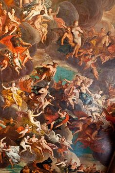 Ceiling of the Great Hall, Chatsworth, Derbyshire Greek Paintings, Classic Paintings, Catholic Art, Religious Art, Rennaissance Art, Baroque Art, Beauty In Art, Greek Art, Painting Wallpaper