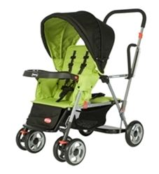 Caboose Stand On Tandem Double StrollerPrice: $149.99, carseat in front and toddler can sit or stand in the back!