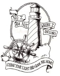 Lighthouse Tattoo Outline | It could be a nice tattoo! #anchor #lighthouse #tattoo