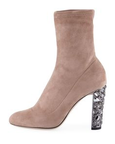 Jimmy Choo Maine Stretch Suede Bootie with Crystal Heel a754dd78441