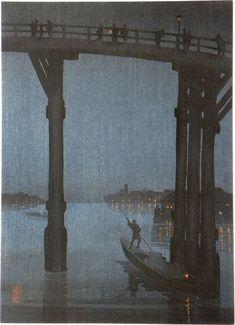 Kobayashi Eijiro, 1870-1946 Night Scenes: High Bridge by Night with artist's seal Eijiro, published by Hasegawa-Nishinomiya, ca. 1910-20's