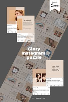 Get the Instagram puzzle look with this amazing template, made on Canva so all you have to do is plug and play with your own branding.     Instagram, Instagram design, Instagram hacks, Instagram tips and tricks, Instagram tips, Instagram templates, Creative Market, Instagram Canva Template, Instagram aesthetic, Instagram grid, Instagram perfect grid, Instagram content, Instagram content creation, Instagram content template, instagram post ideas, instagram content ideas, instagram design Instagram Grid, Instagram Design, Instagram Tips, Instagram Posts, Instagram Templates, Instagram Story Template, Grid Layouts, Change Background, No Photoshop