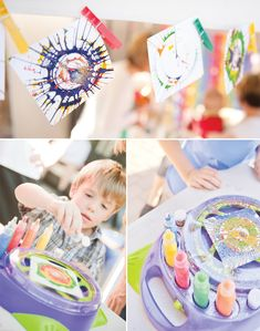 art birthday party - rainbow-paint-party-spin-art