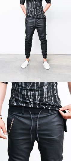 Bottoms :: Pants :: Coated Faux Leather Zip Jogger Sweatpants-Pants 194 - Mens Fashion Clothing For An Attractive Guy Look