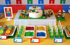 Lego party food - use lots of red, yellow, blue & green to match the predominant lego brick colours!