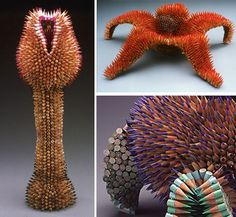 pencil art, sustainable deign - made from ends of color pencils by artist Jennifer Maestre