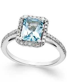 Aquamarine (1-1/5 ct. t.w.) and Diamond (1/4 ct. t.w.) Ring in 14k White Gold Sale $715.00