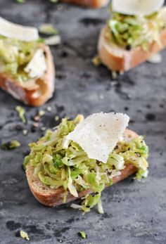 Shredded Brussels Sprouts and Parmesan Crostini | howsweeteats.com
