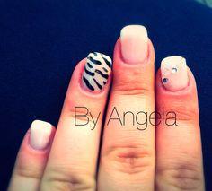 #french #white #black #zebra #rhinestones #glitter #nail #art