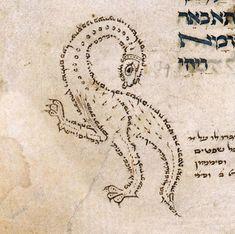 discardingimages: calligraphic dragon Torah, Germany ca. Dragon Medieval, Medieval Life, Medieval Art, Medieval Manuscript, Illuminated Manuscript, Dragon History, Font Art, Writing Art, Book Of Hours