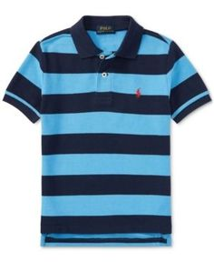 Ralph Lauren Striped Cotton Polo, Little Boys - Blue Mu 7