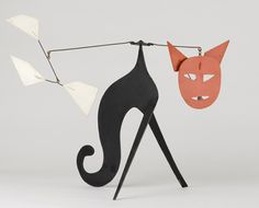 Alexander Calder 1966.    Chat-Mobile (Cat Mobile)  Painted sheet metal and steel wire, 20 x 26 x 26 inches. Museum of Contemporary Art Chicago.