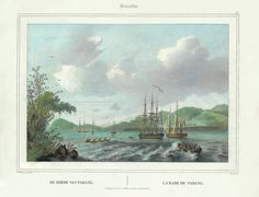 European frigates in Padang Roads, West Sumatra c.1844 Sumatra. 48. DE REEDE VAN PADANG.  LA RADE DE PADANG. A very fine and detailed black and white mid-19th century lithograph by Paulus Lauters (1806-1875) of...