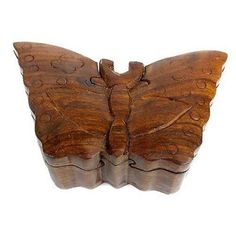 Handcrafted Sheesham Wood Butterfly Puzzle Box - Noahs Ark