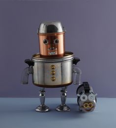 ZOMG! My very own Robot Overlord out of pots & pans! Squeeeeeee!