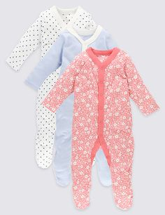 Next New Born 3 Pack Of Sleepsuits Pink Girls' Clothing (newborn-5t) White And Black Swan Print Clothing, Shoes & Accessories