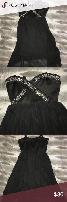 Black flowy dress Black bedazzled high to low dress Deb Dresses