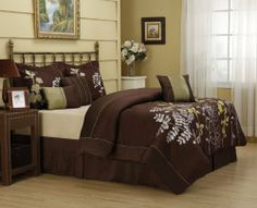 """11 Piece Queen Daisey Bed in a Bag Set by KingLinen. $99.99. This beautiful bedding set features stems of silver and green foilage on brown ground. A refreshing design for any bedroom.3 decorative pillows included. FeaturesColor: Brown/Green/SilverSize: QueenMachine washable Matching curtains availableThis set includes:1 Comforter (90""""x90"""")2 Shams (20""""x26""""+3"""")1 Bedskirt (60""""X80""""+15"""")3 Decorative CushionsPlus 300 Thread Count Cotton Sheets:2Standard pi..."""