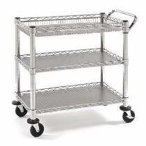 Seville Classics Heavy-Duty Commercial-Grade Utility Cart, NSF - The Home Depot Kitchen Cart, Kitchen Storage, Storage Spaces, Kitchen Organization, Wire Shelving, Adjustable Shelving, Garage Shelving, Cafe Bar, Commercial Shelving