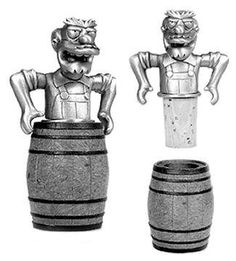 """The Simpsons Pewter Collection Willie Whiskey Stopper by Rocket USA. $19.98. The Simpsons Pewter Collection. Pewter accessory stands about 5"""" Tall. Barware Accessories. Groundskeeper Willie Whiskey Stopper. Made in England. Simpsons Barware Pewter Willie the groundskeeper Whiskey bottle stopper. Can also work on wine bottles Crafted in England. Packaged in a silver embossed black tube."""