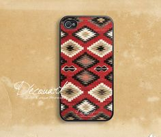 iPhone 5 case, Unique iPhone 4 case, iPhone 4s case, case for iPhone 4, red navajo pattern B116 via Etsy