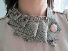 Necktie Necklace, uses snap fasteners to hold it together